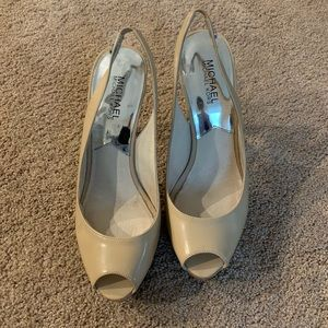 Michael Kors Nude Patent Leather Slingback Size 8